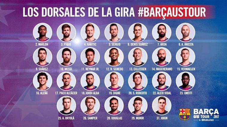 Los jugadores del Barça ya tienen dorsales para la gira