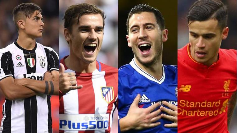 Dybala, Hazard, Griezmann y Coutinho