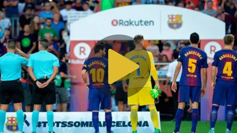 Emotivo minuto de silencio en el Camp Nou por el atentado