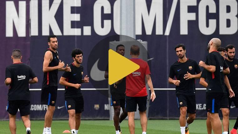 Risas y buen rollo en el Barça tras el primer triunfo en Liga