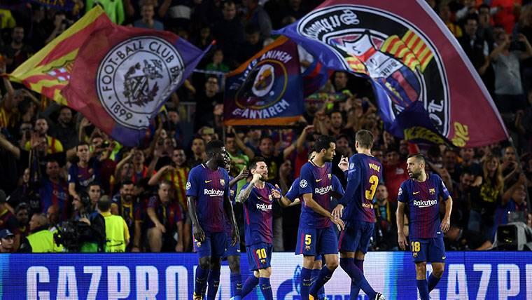 El FC Barcelona, celebrando uno de los goles marcados a la Juventus