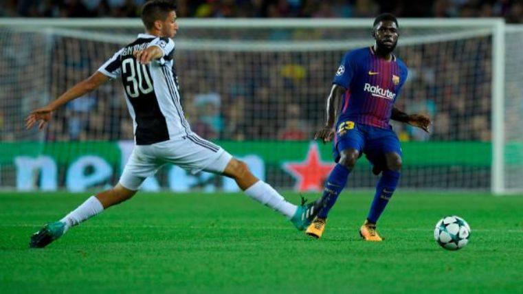 Umtiti, en una acción ante la Juventus
