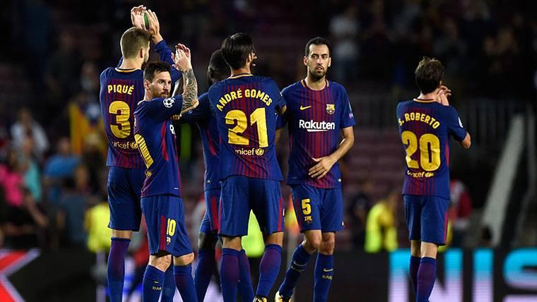 El FC Barcelona, celebrando uno de los goles a la Juventus