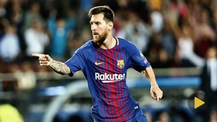 Messi celebrando un gol ante la Juventus