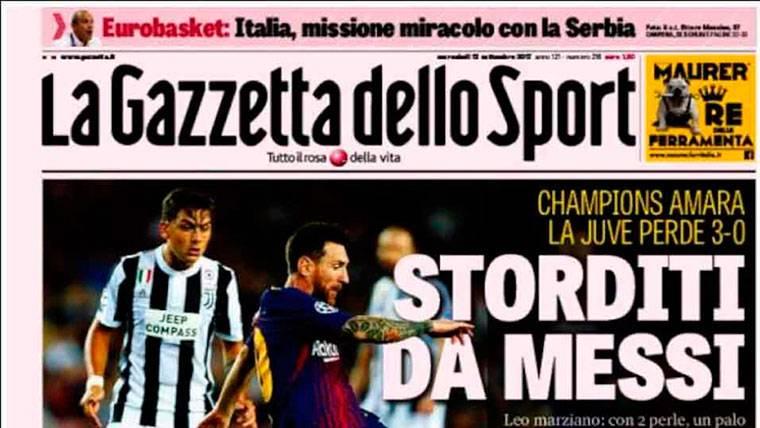 """La prensa italiana se rinde a los pies del """"marciano"""" Messi"""
