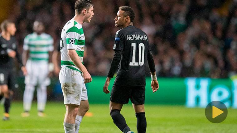 Neymar Jr, encarándose con Ralston durante el Celtic-PSG