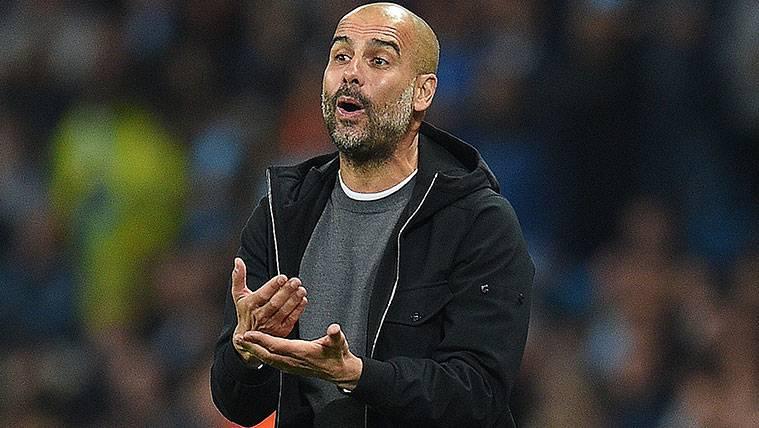 Pep Guardiola en un partido del Manchester City en la Champions League