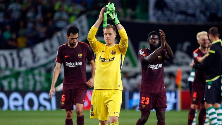 Marc-André Ter Stegen celebra una victoria del FC Barcelona