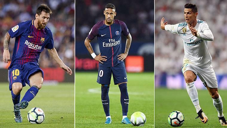 Messi, Neymar y 'CR7', el podio más esperado del Balón de Oro