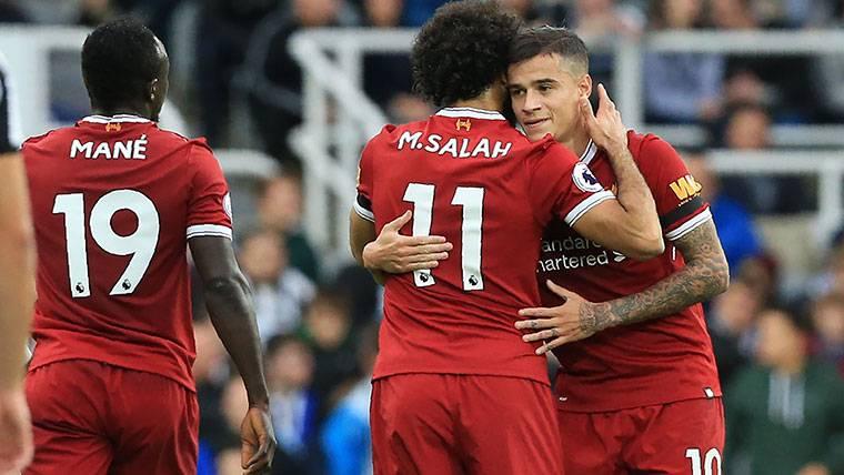Philippe Coutinho, celebrando un gol marcado con el Liverpool