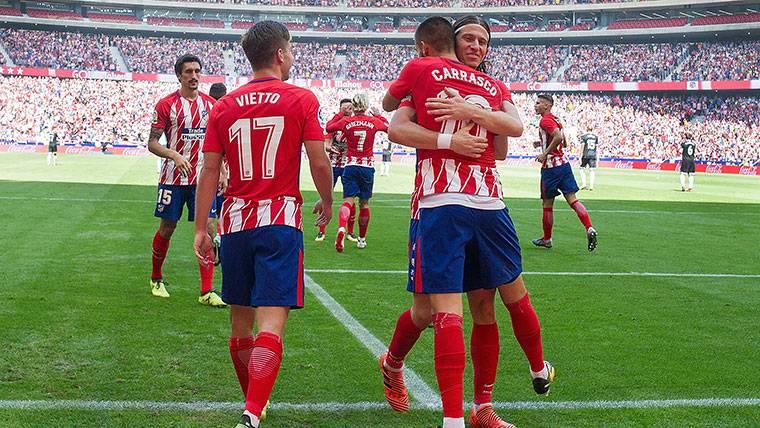 El Atlético, celebrando un gol esta temporada en Liga Santander