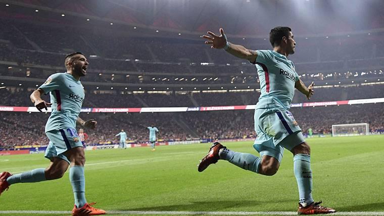 Mensaje de Suárez tras el gol y su celebración en el Wanda