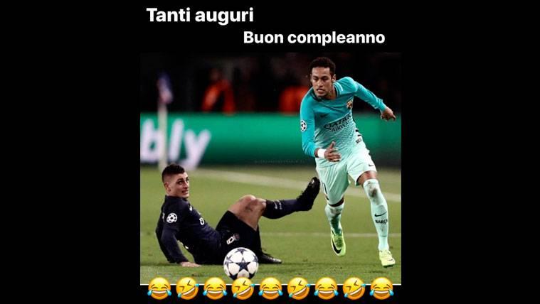 Neymar felicita a Marco Verratti, ¡usando una foto del Barça!