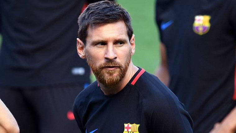 Leo Messi, durante un entrenamiento con el FC Barcelona