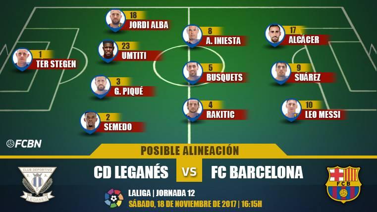 Las posibles alineaciones del Leganés-Barcelona (LaLiga J12)