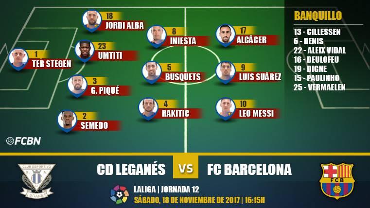 Alineaciones del Leganés-Barcelona (LaLiga J12)