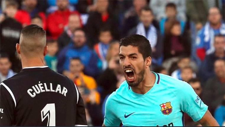 Luis Suárez celebró su gol en la cara del 'Pichu' Cuéllar