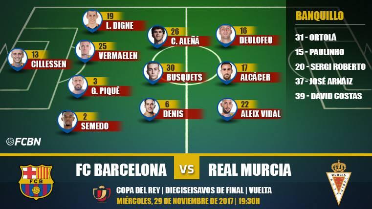 Alineaciones de la vuelta de Copa: FC Barcelona-Real Murcia