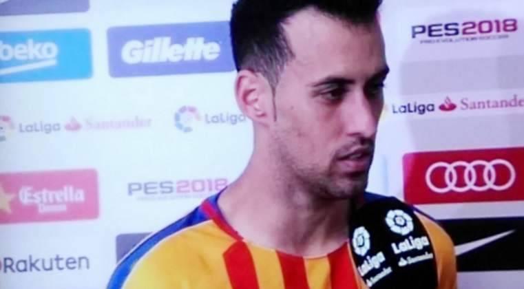 El enfado de Busquets con un periodista tras el Barça-Celta