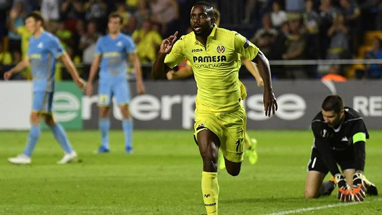 Cedric Bakambu, celebrando un gol contra el Astana