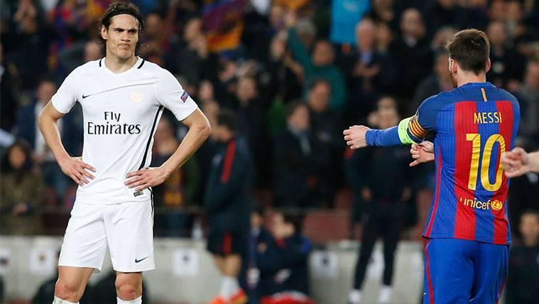 Messi no quiere perder de vista a Cavani en la Bota de Oro