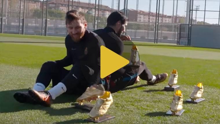 Leo Messi y Luis Suárez lucen sus seis Botas de Oro