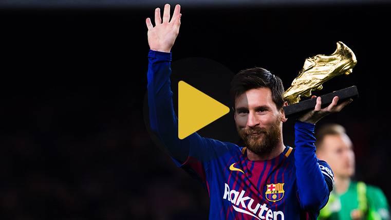 Leo Messi presentó su cuarta Bota de Oro ante el Camp Nou