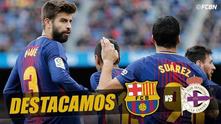 Gesto de capitán de Piqué al concluir el Barcelona-Deportivo