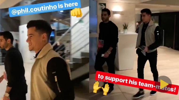 Coutinho, un culé más animando al Barça en la Copa del Rey