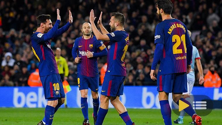 El FC Barcelona, celebrando uno de los goles contra el Celta