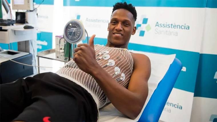 Yerry Mina, durante el reconocimiento médico