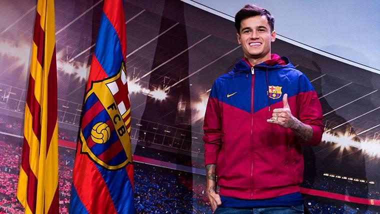 Philippe Coutinho, durante su presentación con el FC Barcelona