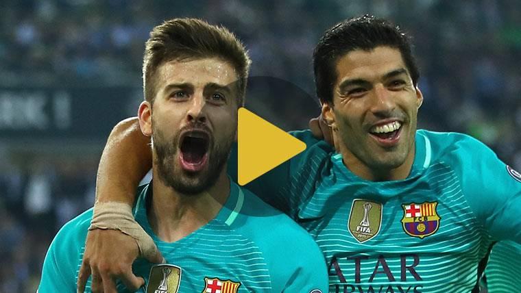El divertido 'pique' entre Luis Suárez y Piqué en el entreno