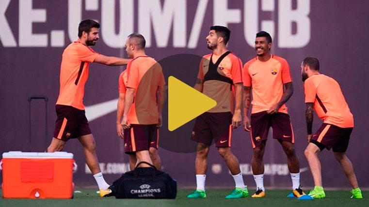 Coutinho y Paulinho, en el entreno previo al Betis-Barça