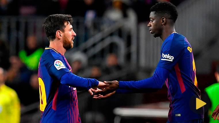 Messi paró un rondo, ¡para aplaudir a Ousmane Dembélé!