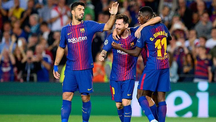 Pase magistral de Dembélé para el 'hat-trick' de Luis Suárez