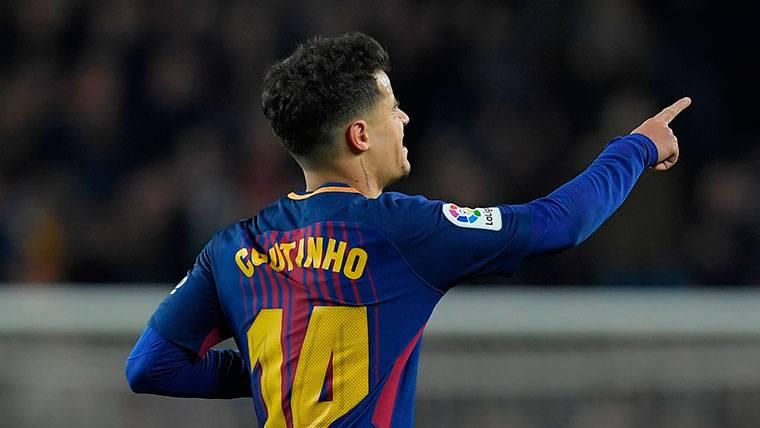 Humilde reacción de Coutinho tras marcar en el Camp Nou
