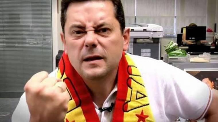 Ridícula celebración de Roncero por el penalti contra el Barça