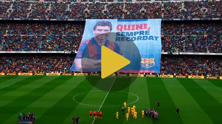 El Camp Nou se deshizo en aplausos en el homenaje a Quini