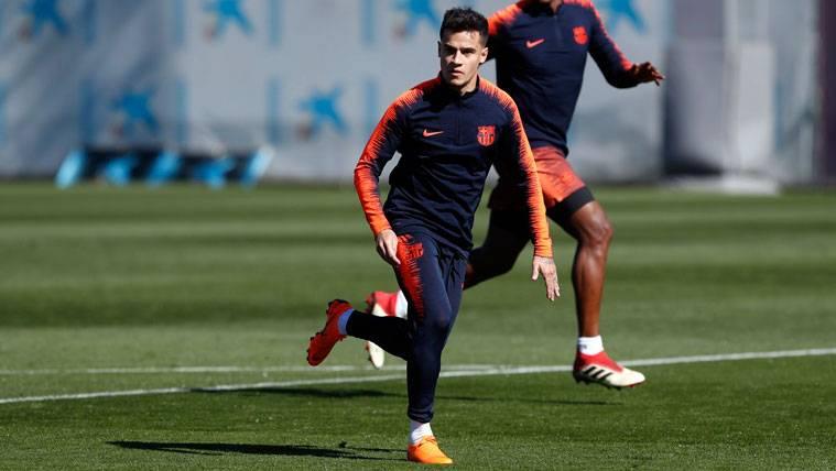 Philippe Coutinho en un entrenamiento del FC Barcelona