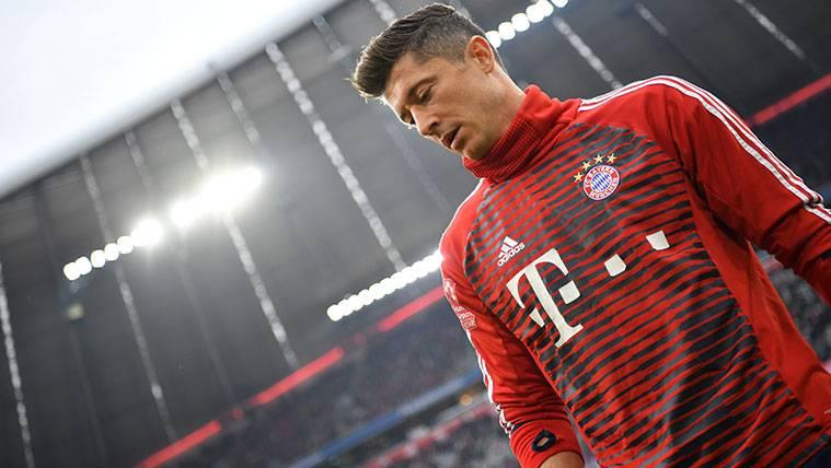 Robert Lewandowksi en los instantes previos a un partido con el Bayern