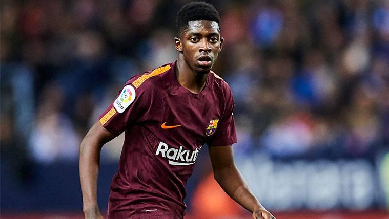 Ousmane Dembélé en un partido con el FC Barcelona