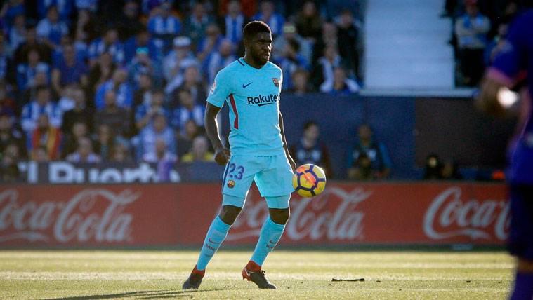 Samuel Umtiti en un partido con el FC Barcelona