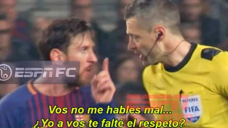 """El enfado de Messi con el árbitro del Barça-Chelsea: """"¡No me hables mal!"""""""