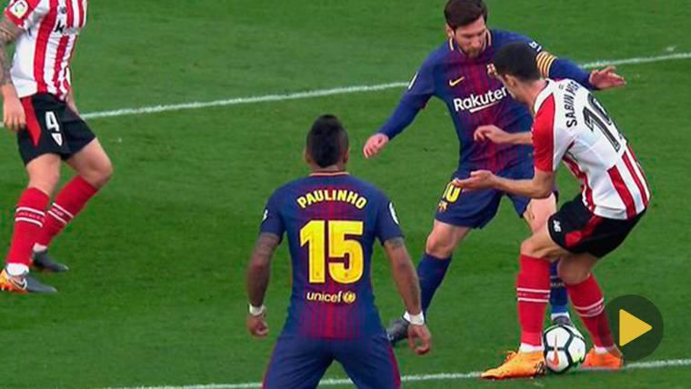 Messi culmina su semana de 'caños' con otro túnel a Sabin