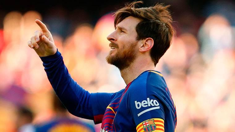 Leo Messi, celebrando el gol marcado al Athletic en el Camp Nou