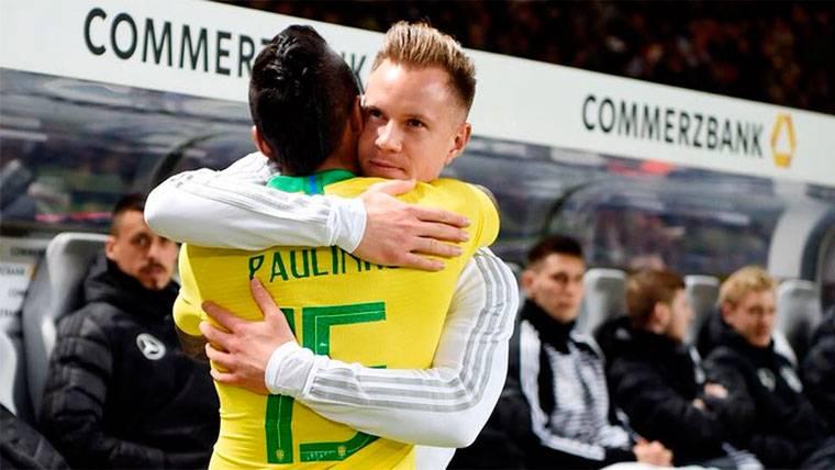 Ter Stegen muestra la gran relación que mantiene con Paulinho