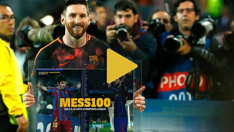 Homenaje con Carles Puyol a Leo Messi por sus 100 goles en Champions League