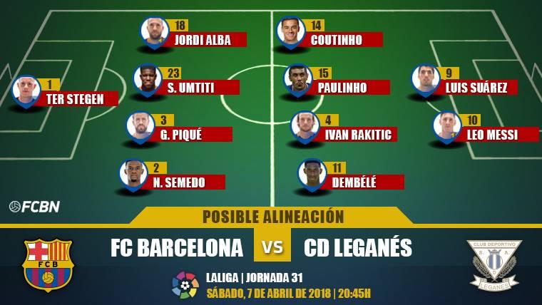 Las posibles alineaciones del FC Barcelona-Leganés (LaLiga J31)