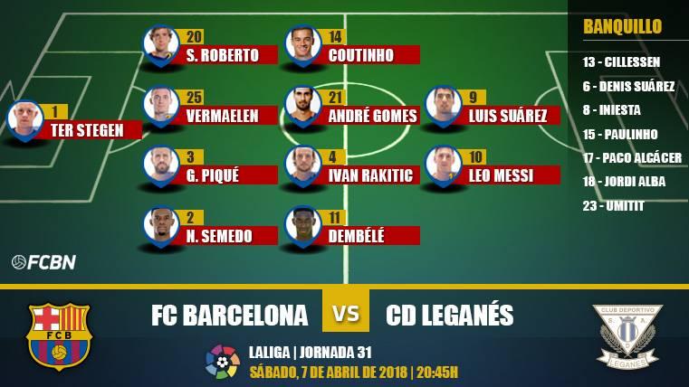 Alineaciones de la J31 de LaLiga: FC Barcelona-Leganés